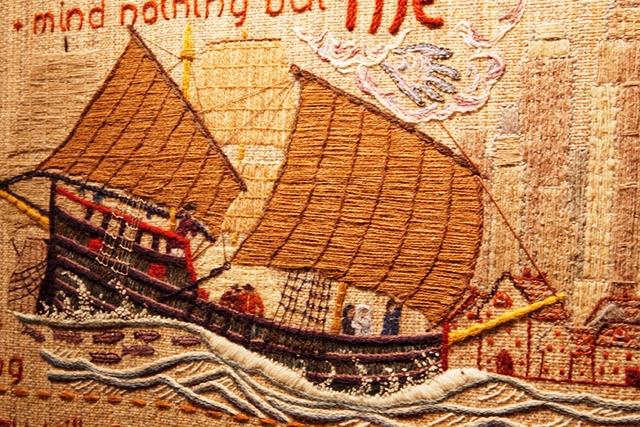Quaker Tapestry ship, Kendal, UK