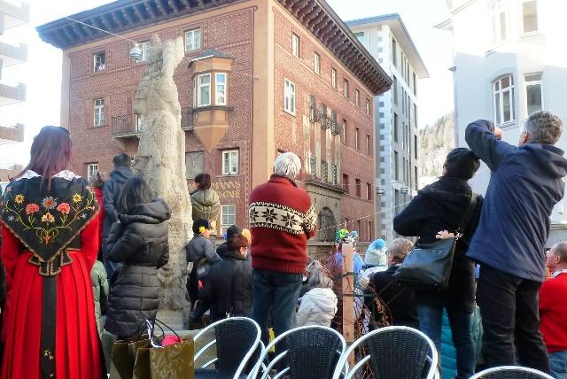 Chalandamarz crowds St Moritz - image Zoe Dawes