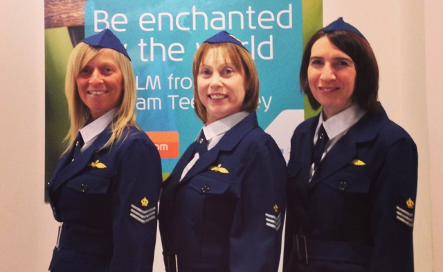 Durham Tees Valley Airport crew in RAF uniforms to celebrate KLM Dakota flight