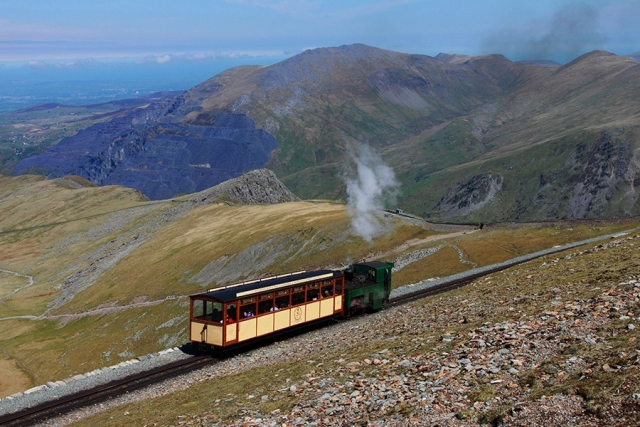 'Enid' and heritage coach steaming up Snowdon - photo snowdonrailway.co.uk