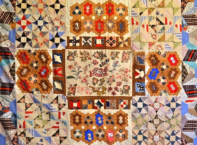 Patchwork coverlet c.1878 Gawthorpe Textiles