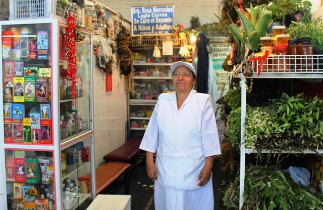 Herbalist Rosa Mercedes remedies Quito Market Ecuador - image Zoe Dawes