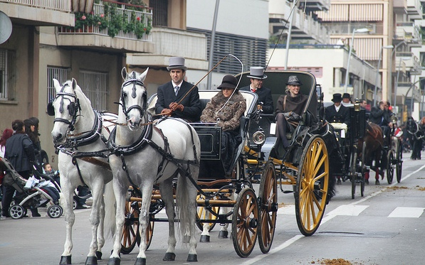Horse drawn carriages at Fiesta dels Tombs, Barcelona by Vilanova i la Geltrú