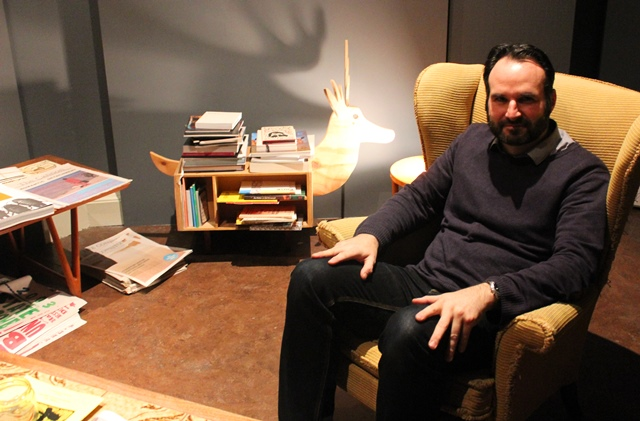 Curator Jamie Barnes in Abbot Hall, Kendal