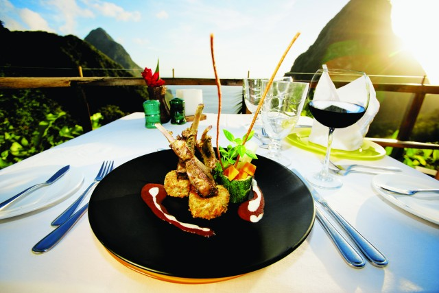 Delicious food at Ladera Resort Dasheene Restaurant St Lucia