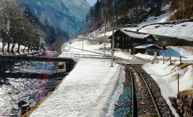 View of Lauterbrunnen Valley Switzerland from train
