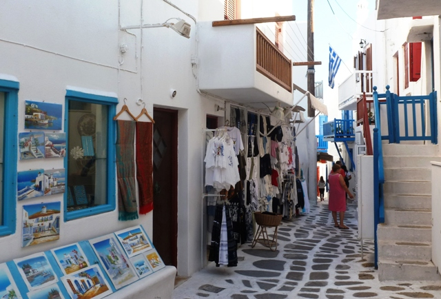 Mykonos Town shops, Greece - by Zoe Dawes