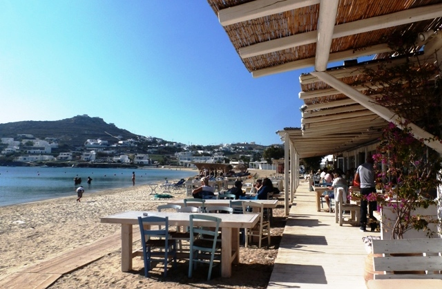Ournos Beach and restaurant Mykonos Greece - image Zoe Dawes