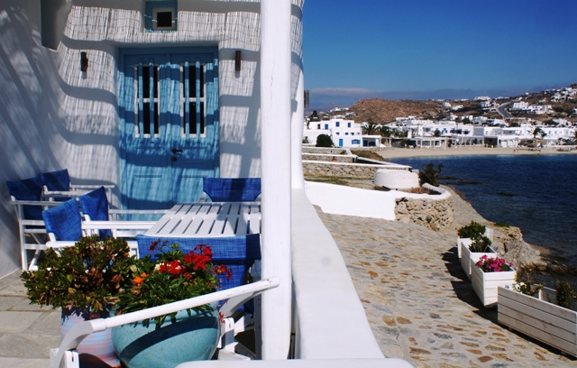 Ornos villa and beach, Mykonos - by Zoe Dawes