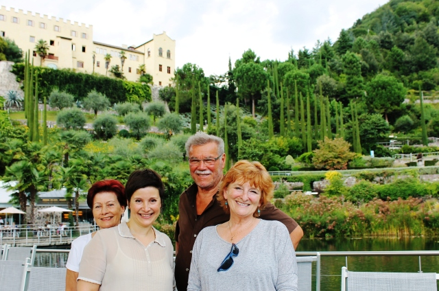 The Platter family and The Quirky Traveller in Trauttmansdorff Castle Gardens - South Tyrol, Italy - image Zoe Dawes
