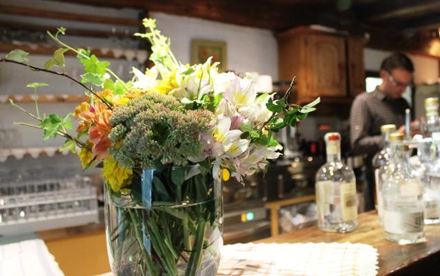 Fresh flowers on the Pretzhof bar, South Tyrol, Italy - image Zoe Dawes