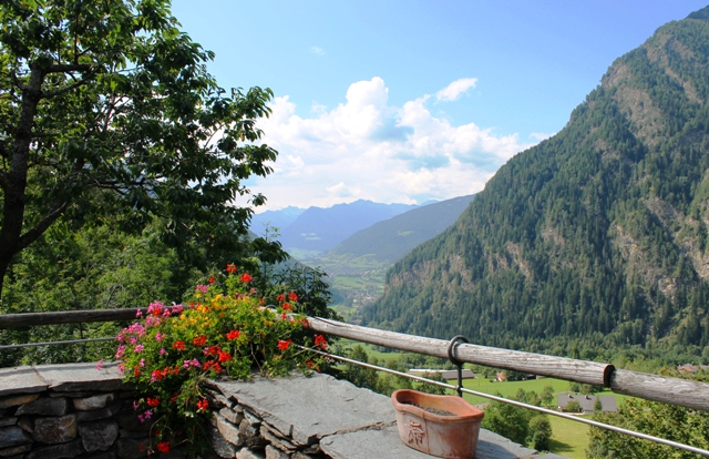 View of Val di Vizze from Pretzhof restuarant, South Tyrol, Italy - by Zoe Dawes