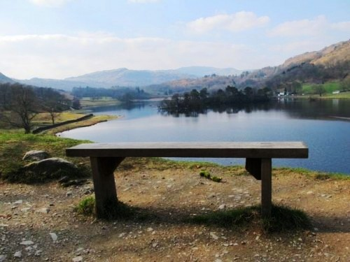 Rydal Water bench in the Lake District