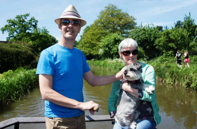 Stan Cullimore (former guita;rist with 'The Housemartins', wife and Mabel the dog on their canal boat holiday