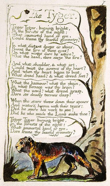 'The Tyger' original William Blake printed c 1795