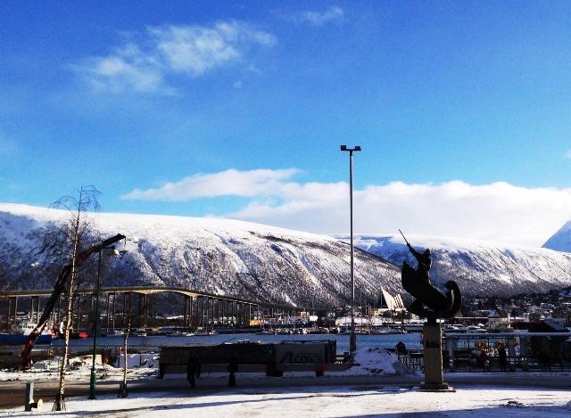 Tromso in Arctic Norway - sculpture of whaler - image Zoe Dawes