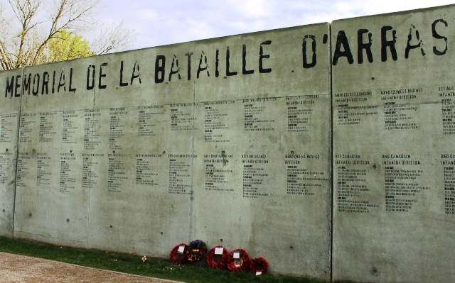 Memorial Wall at Wellington Quarry, Arras, Northern France