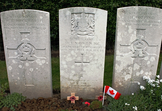 Wilfred Owen grave - Ors village, France Photo by Zoe Dawes