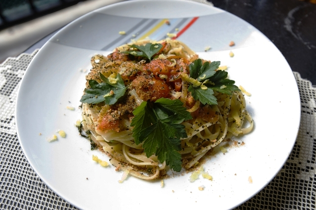 Bottarga with spaghetti