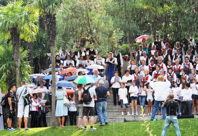 Rain on the Day of Choirs Trauttmansdorff Gardens, South Tyrol - image Zoe Dawes