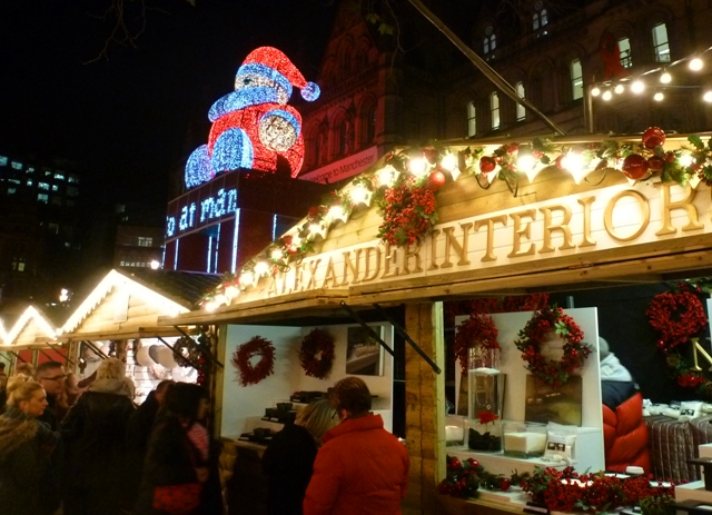 Santa and stalls at Manchester Christmas Market
