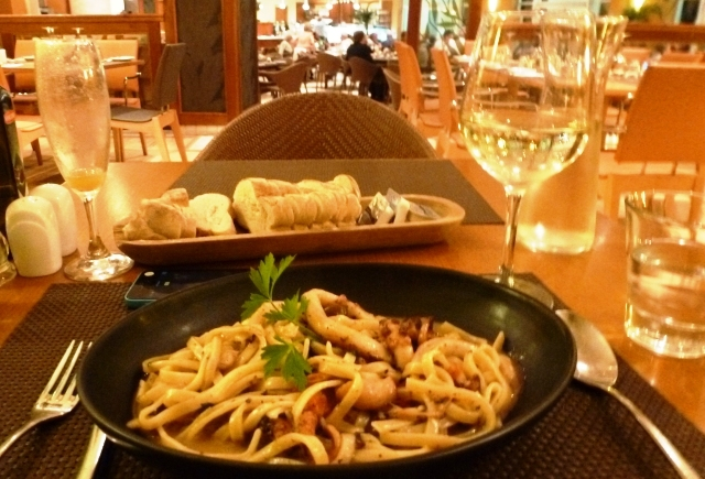 Agliolio Restaurant pasta at Azure Golden Sands Resort and Spa Malta