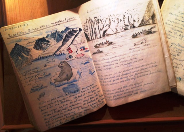 Journal of Arctic exploration 1962 in Polar Museum Tromso Norway - image Zoe Dawes