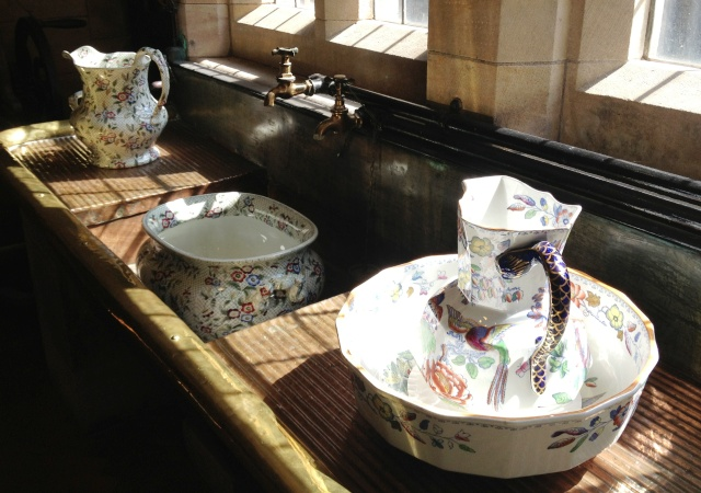 Bamburgh Castle scullery sinks and ewers - image Zoe Dawes