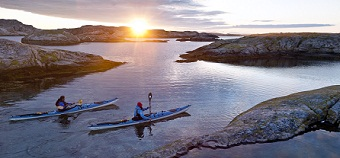 Ben Fogle Celebrity Cruises kayaking in Sweden