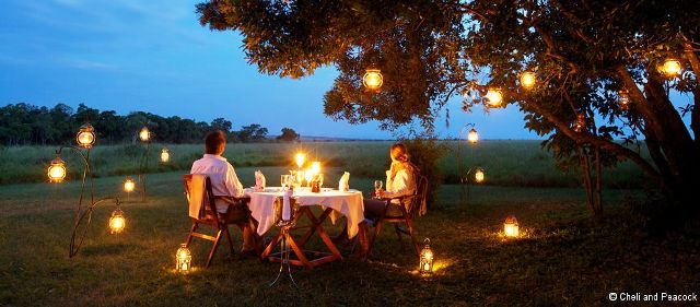 Candlelit dinner on luxury safari in Africa - image Cheli and Peacock