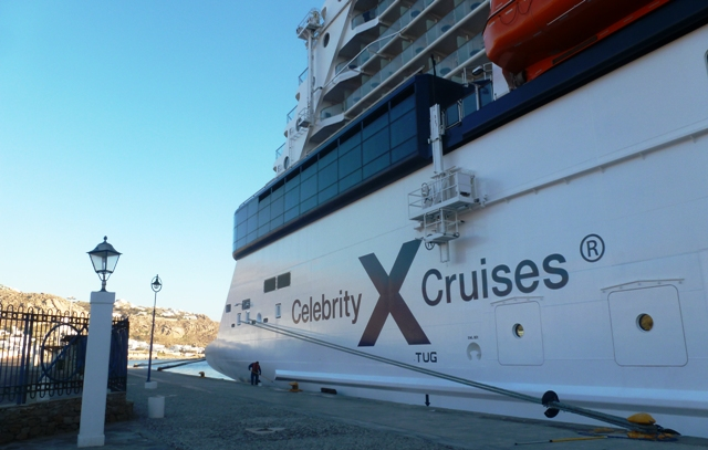 Celebrity Reflection cruise ship at Mykonos - by Zoe Dawes