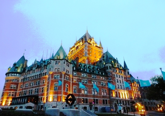 Chateau Frontenac at night, Quebec City - image Zoe Dawes