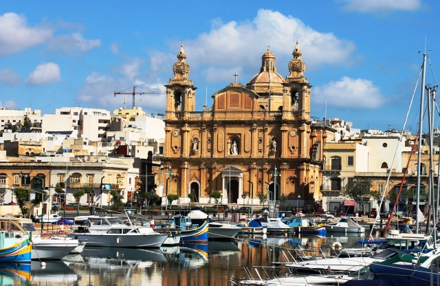 Church and yachts, Sliema Malta - by Zee Dawes