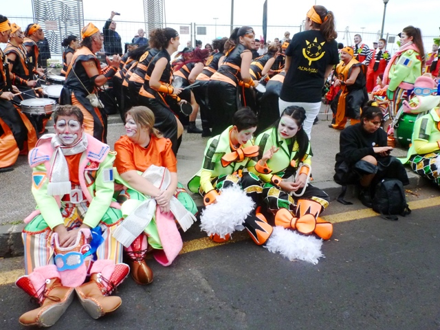Drummers and clowns Tenerife Carnival - by Zoe Dawes