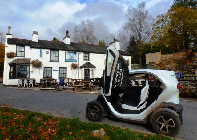 Twizy in Elterwater village, Langdale Valley, Lake District, Cumbria