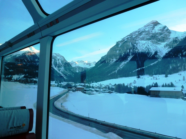 Glacier Express in Engadin valley
