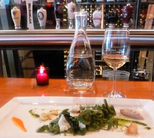Fiddlehead salad at Le Cercle - by Zoe Dawes
