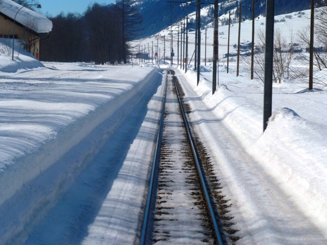 Rail track from rear of train