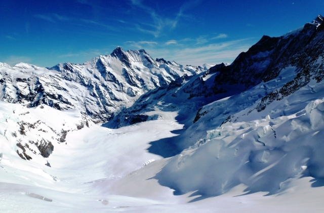 Swiss Alps Glacier from Jungfrau viewing window - image Zoe Dawes