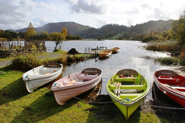 Rowing boats on Grasmere, Lake District, Cumbria