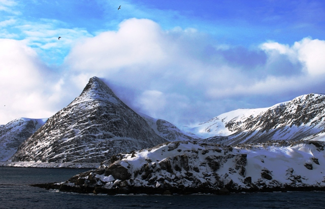 'Hershey Kiss Mountain' Havoysund Norway Hurtigruten ferry - photo by Zoe Dawes