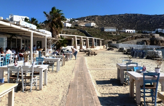 Ithaki restaurant on Ournos Beach Mykonos, Greece