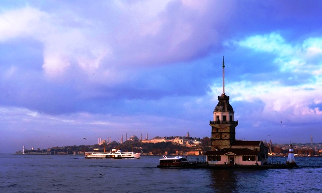 Maiden Tower dawn over the Bosphorus Istanbul - image Zoe Dawes