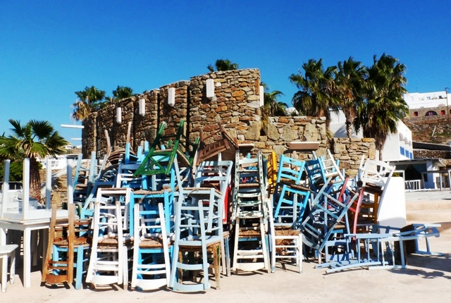 Ornos Restaurant chairs Mykonos - by Zoe Dawes