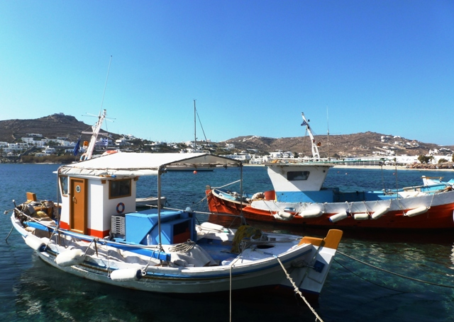 Ornos fishing boats, Mykonos - by Zoe Dawes