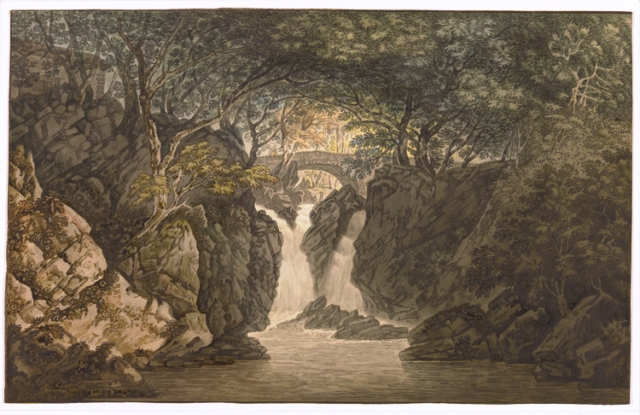 Joseph Farington, The Waterfall at Rydal, Ambleside, from his Views of the Lakes, 1789, British Museum