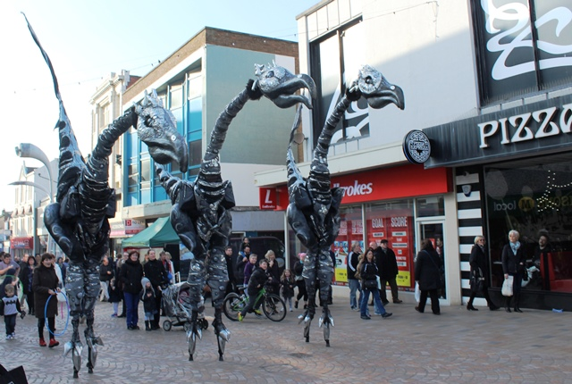 Sauruses stalk the streets of Blackpool Showzam - image Zoe Dawes
