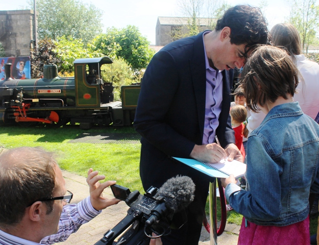 Stephen Mangan signs autographs at launch of Postman Pat: Th emovie, Brewery Arts Centre, Kendal