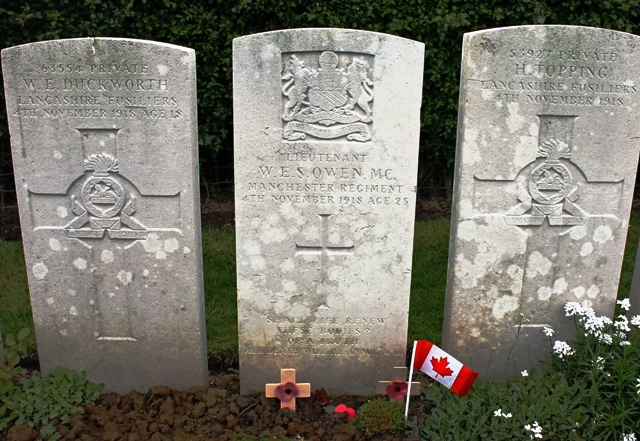 Wilfred Owen's grave at Ors France - image Zoe Dawes